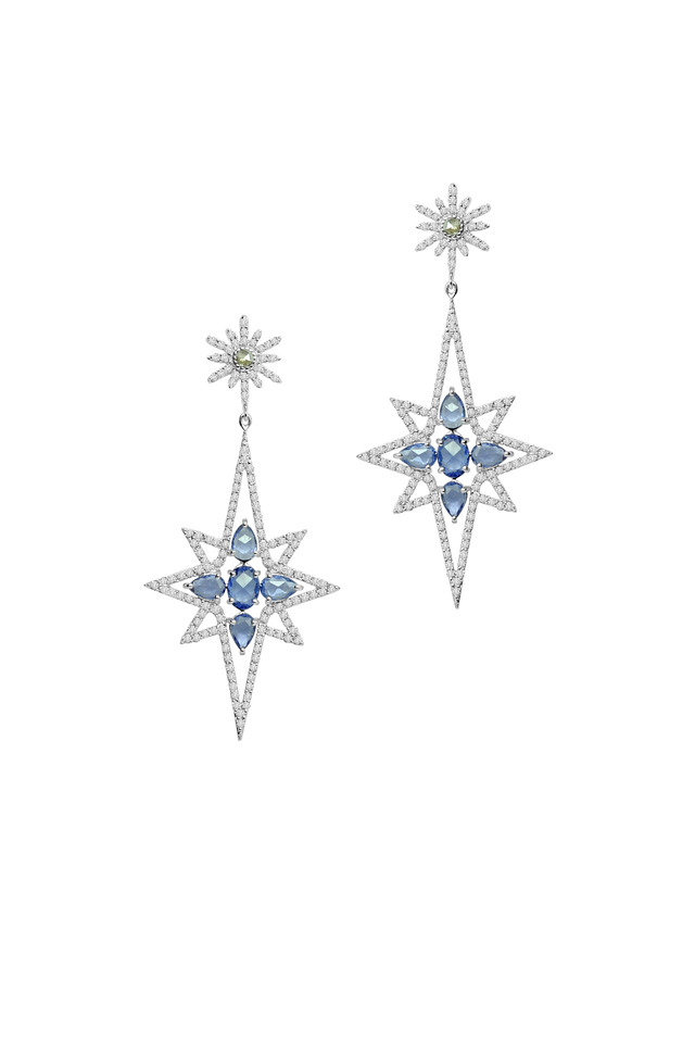 White Gold Sapphire & Diamond Star Earrings