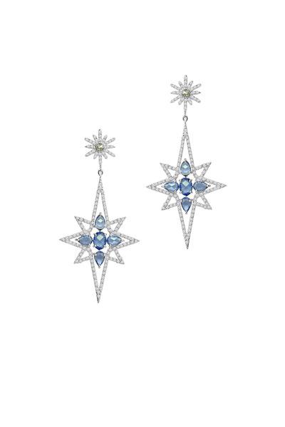 Sutra - White Gold Sapphire & Diamond Star Earrings