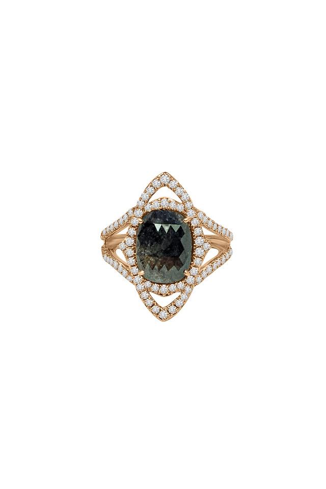 18K White Gold Rough Diamond Ring