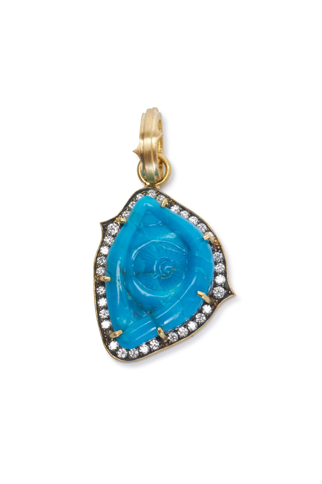 Yellow Gold Turquoise Diamond Evil Eye Pendant