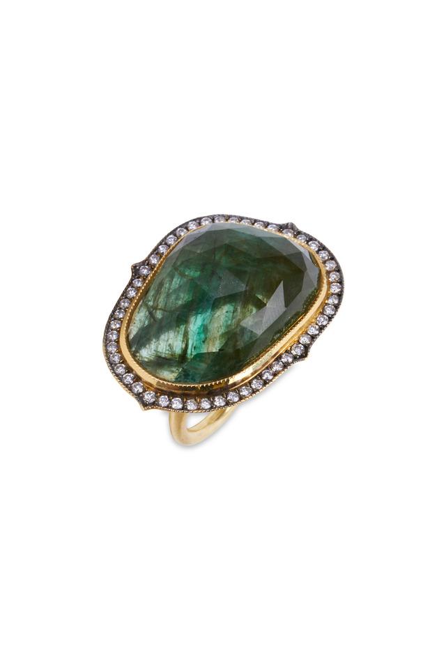 Yellow Gold Emerald Egg Diamond Ring