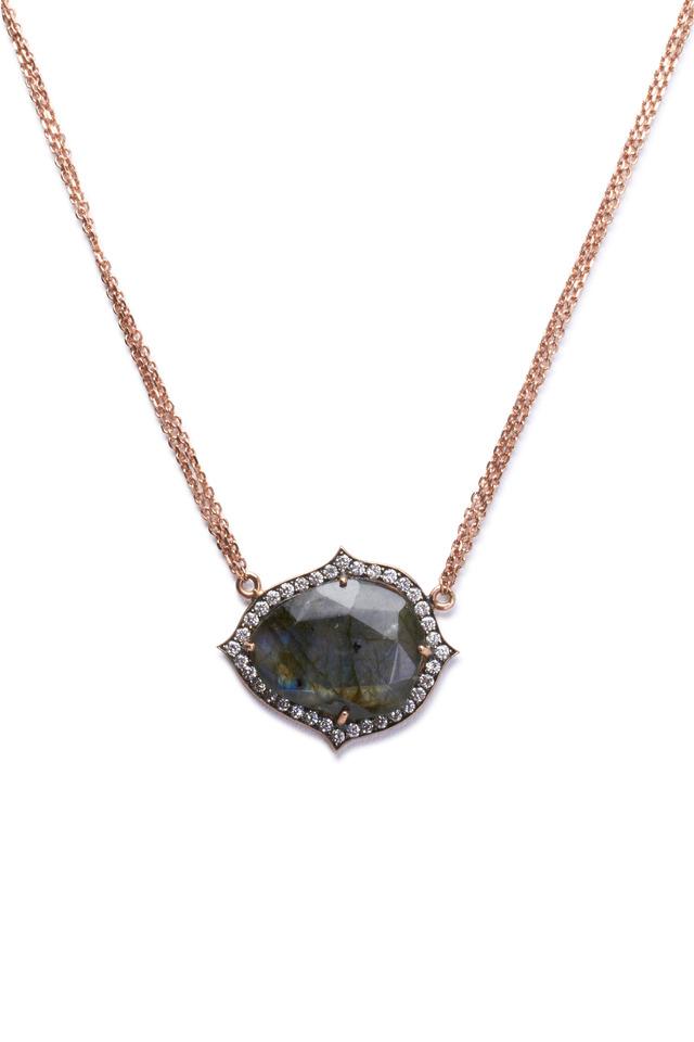 Rose Gold Labradorite Diamond Pendant