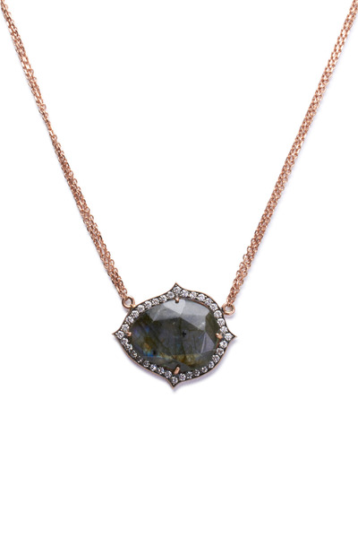 Sylva & Cie - Rose Gold Labradorite Diamond Pendant