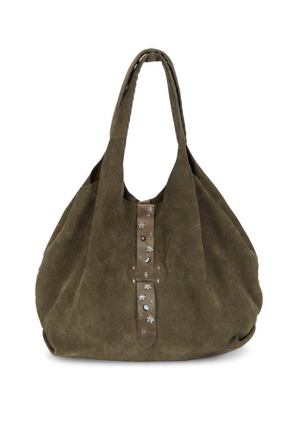 Henry Beguelin Olive Green Suede Studded Belt Detail Hobo Bag