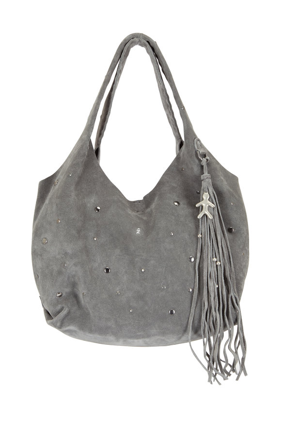 Henry Beguelin Canchi Chic Gray Suede Studded Hobo Bag