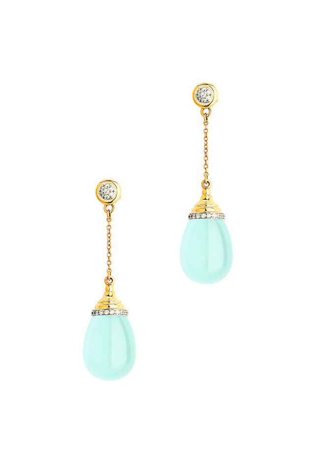 Gold Sea Green Chalcedony Diamond Drop Earrings