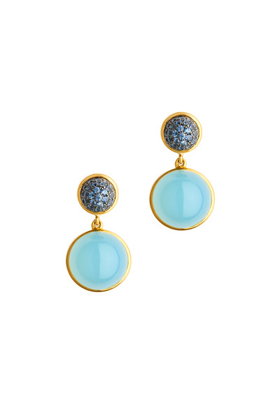 Syna - Yellow Gold Blue Chalcedony Blue Sapphire Earrings