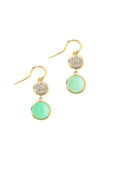 Syna - Yellow Gold Chrysophrase Diamond Chakra Earrings