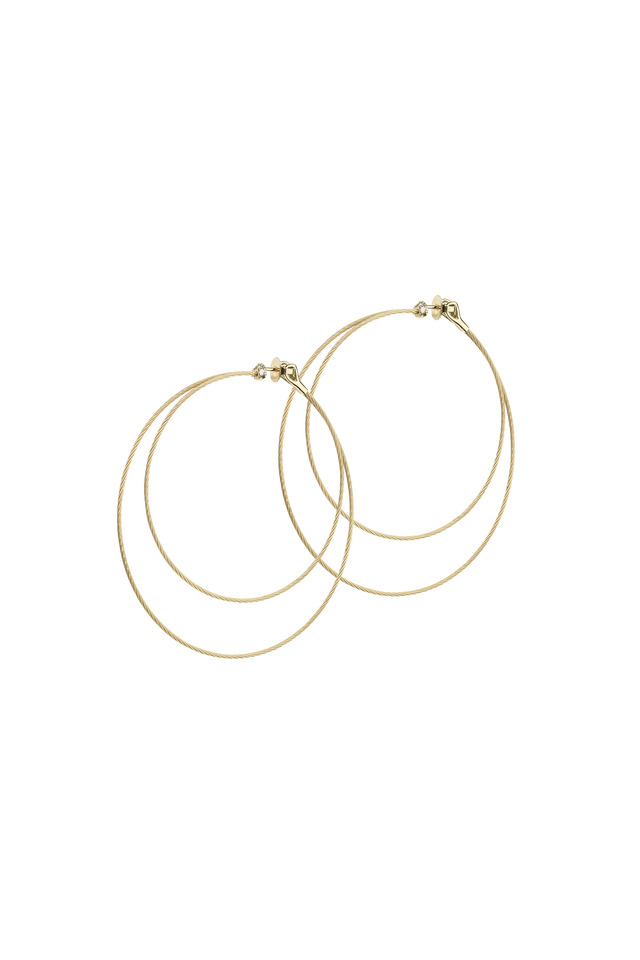 18K Yellow Gold Diamond Double Wire Hoops