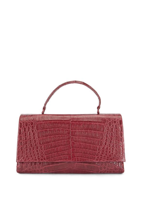 Nancy Gonzalez Burgundy Crocodile Top Handle Bag