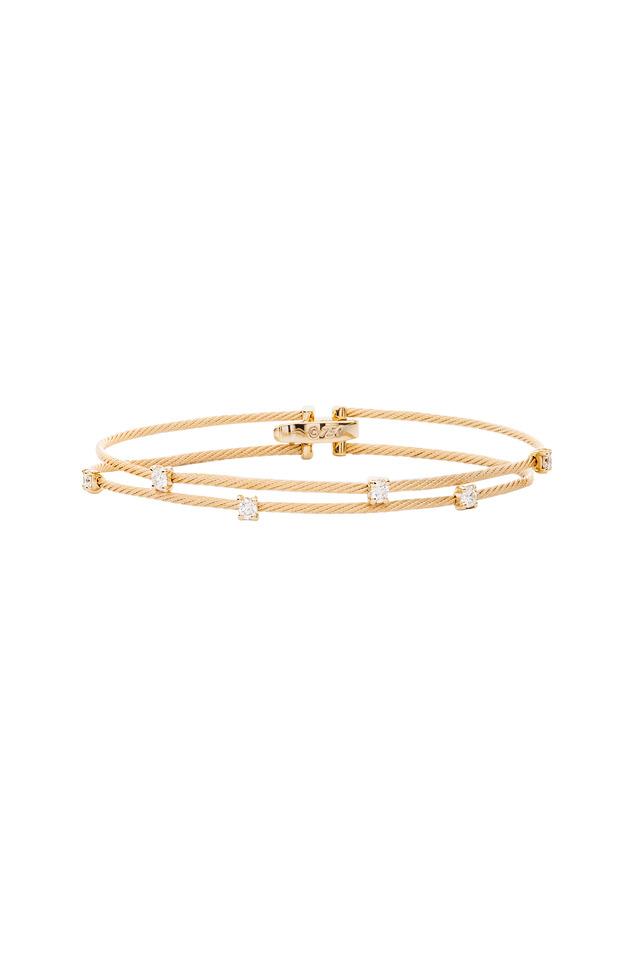 Yellow Gold Diamond Double Wire Bracelet