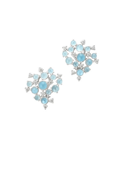Paul Morelli - 18K White Gold Aqua & Diamond Cluster Earrings