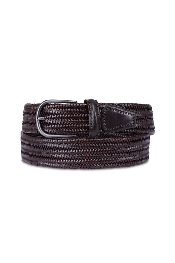 Anderson's Brown Leather Stretch Woven Belt