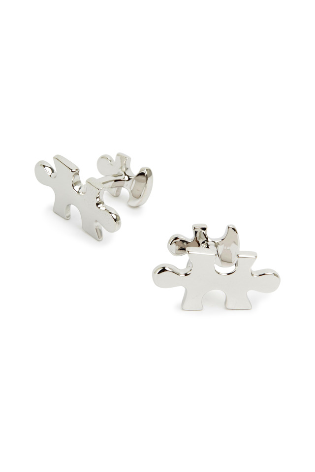 Sterling Silver Puzzle Piece Cuff Links