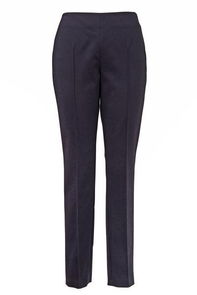 Akris - Melissa Black Stretch Cotton Side Zip Pant