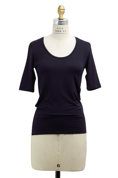 Majestic - Navy Blue Viscose Top