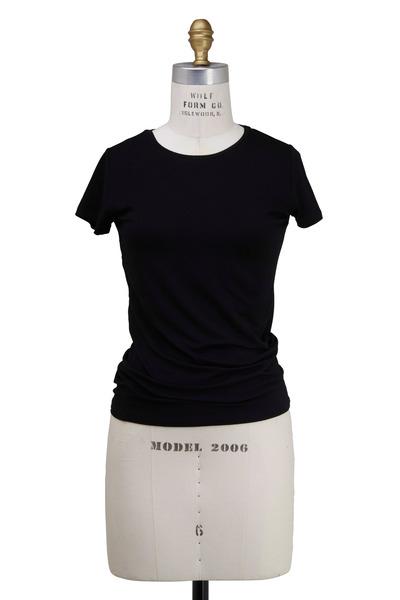Majestic - Black Viscose T-Shirt