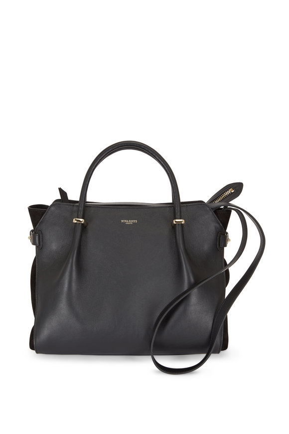Nina Ricci Marché Black Leather & Suede Medium Satchel