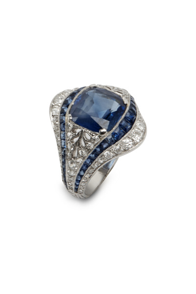 Fred Leighton - Platinum Sapphire & Diamond Ring