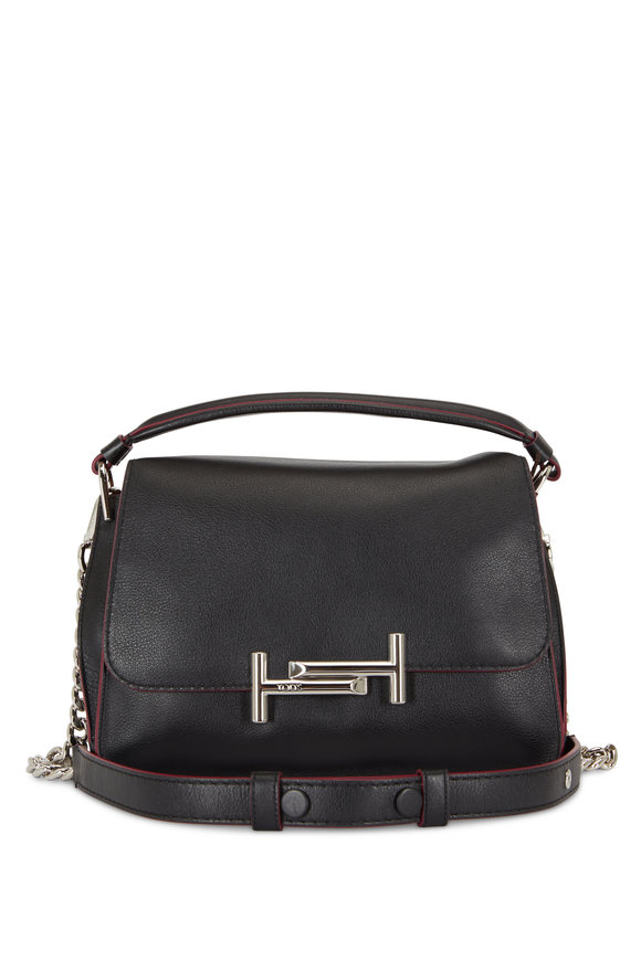 Tod's Double T Black Leather Top Handle Messenger Bag