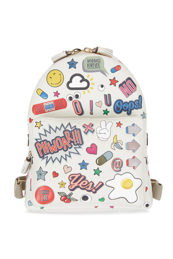 Anya Hindmarch Chalk Leather All Over Sticker Mini Backpack