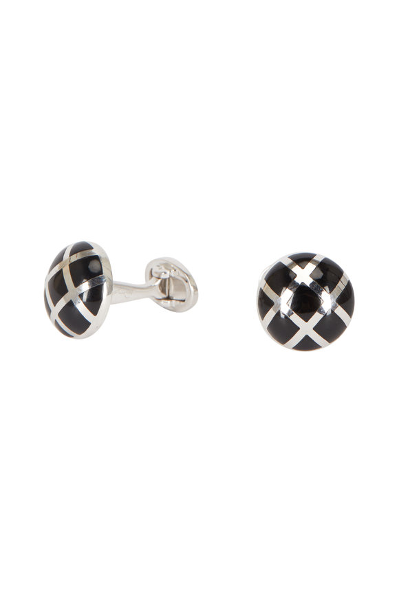 Jan Leslie Sterling Silver Caged Onyx Cuff Links