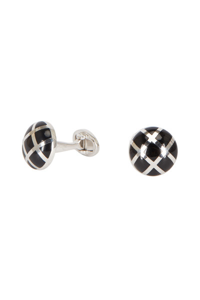 Jan Leslie - Sterling Silver Caged Onyx Cuff Links