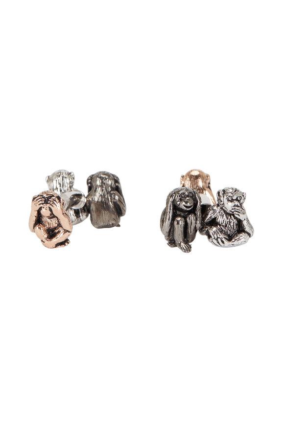 Jan Leslie Sterling Silver Three Toned Monkey Cuff Links