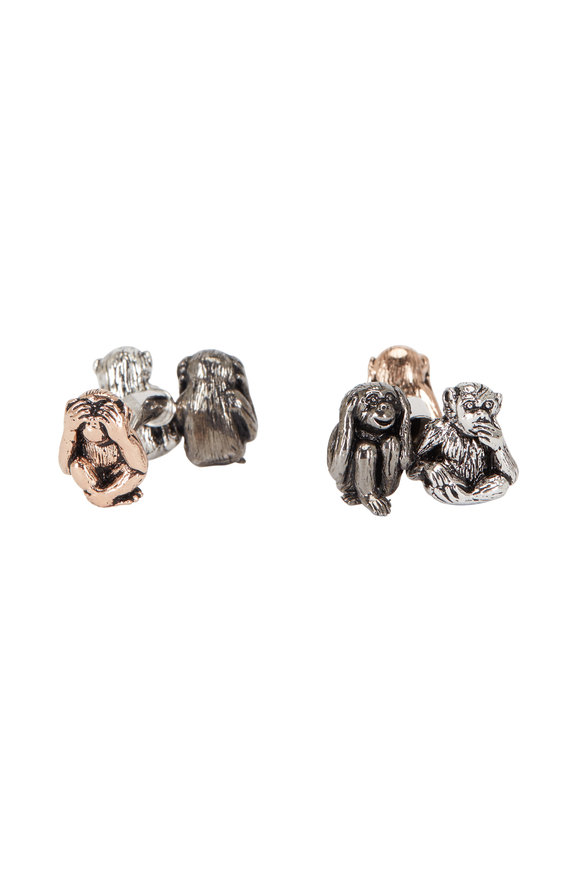 Jan Leslie Sterling Silver Three Toned Monkey Cuff Links
