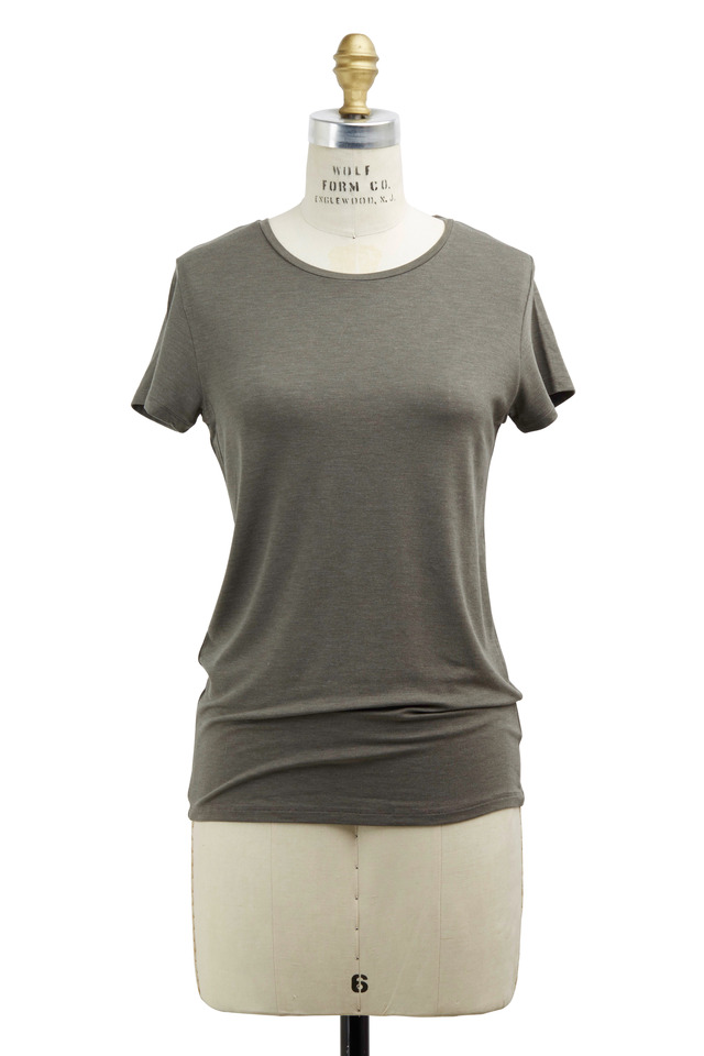 Olive Green Viscose T-Shirt