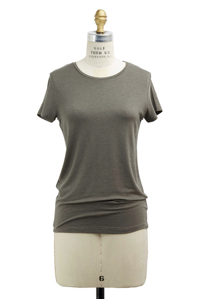 Majestic - Olive Green Viscose T-Shirt