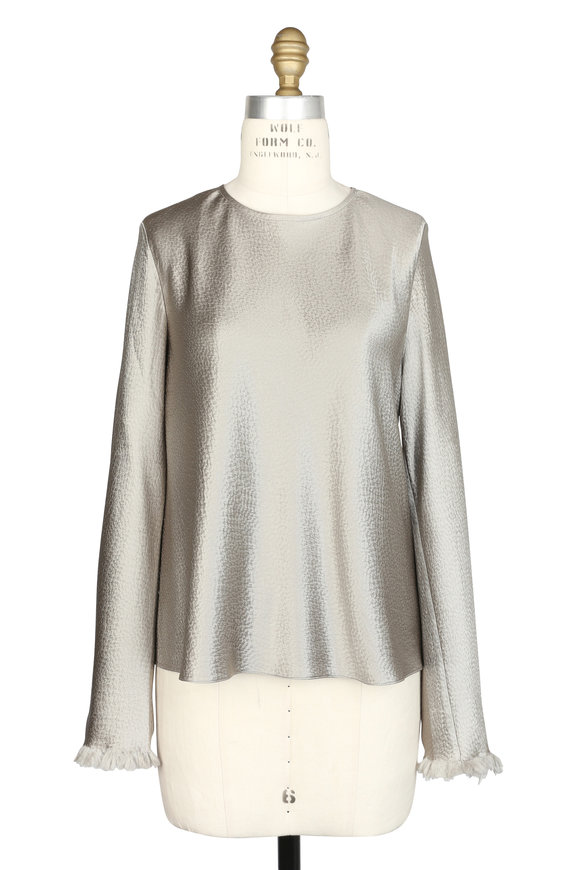 Peter Cohen Metallic Silver Silk Blouse