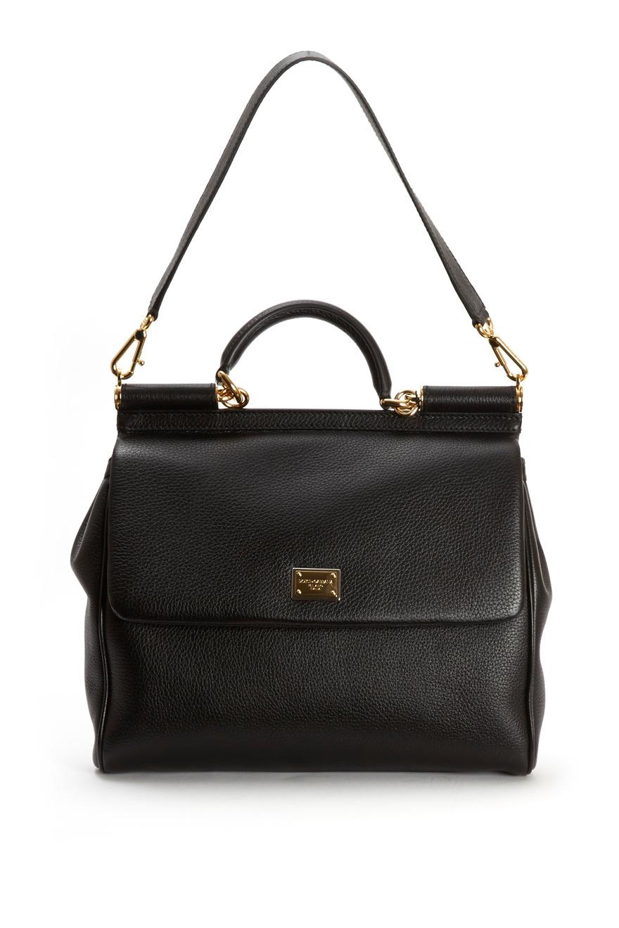 Miss Sicily Black Leather Medium Satchel