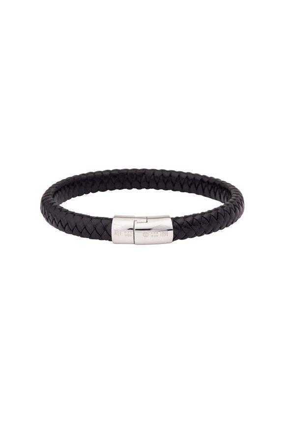 Tateossian Black Leather Cobra Bracelet