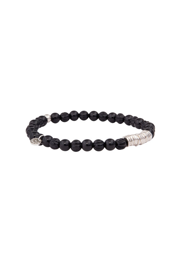 Tateossian Black Agate Disc Round Bracelet