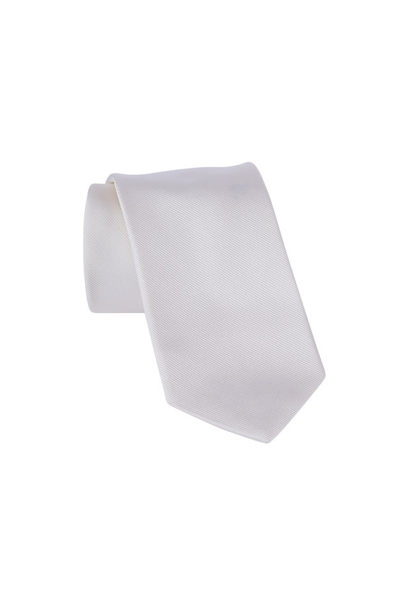 Dion White Silk Faille Necktie