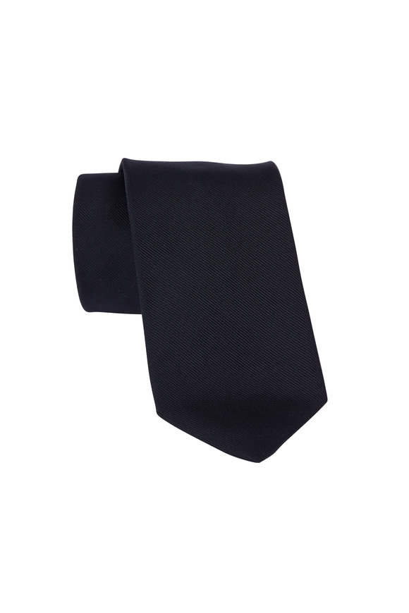 Dion Black Silk Faille Necktie