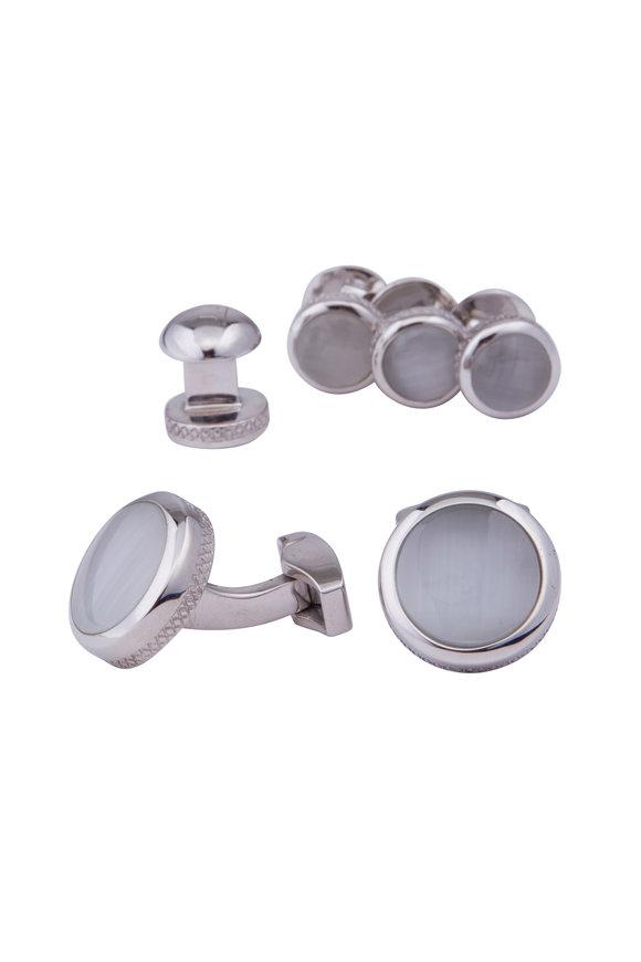 Tateossian White Cuff Links & Stud Set