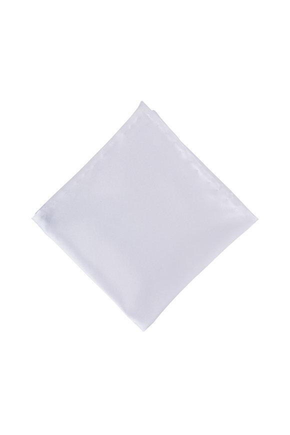 Dion White Satin Pocket Square