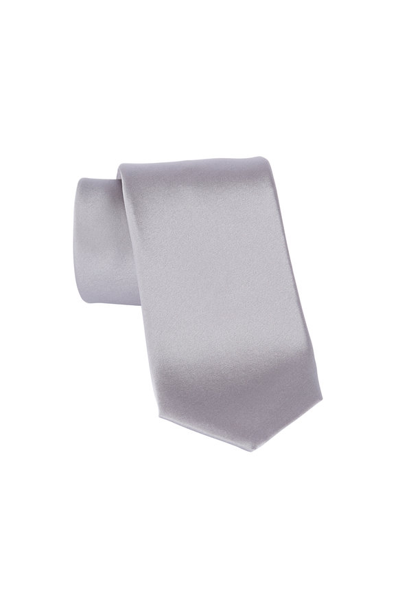 Dion Medium Grey Satin Silk Necktie