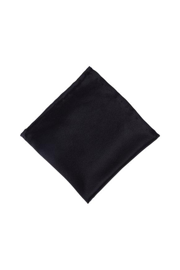 Dion Black Satin Pocket Square