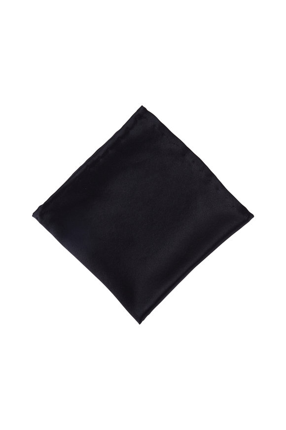 Dion Black Satin Pocket Square