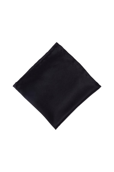 Dion - Black Satin Pocket Square