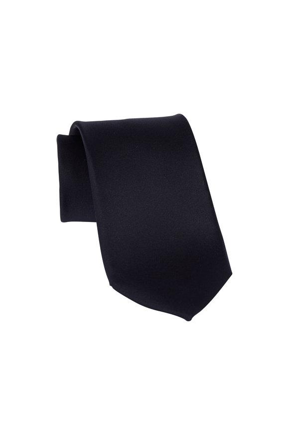 Dion Black Satin Silk  Necktie