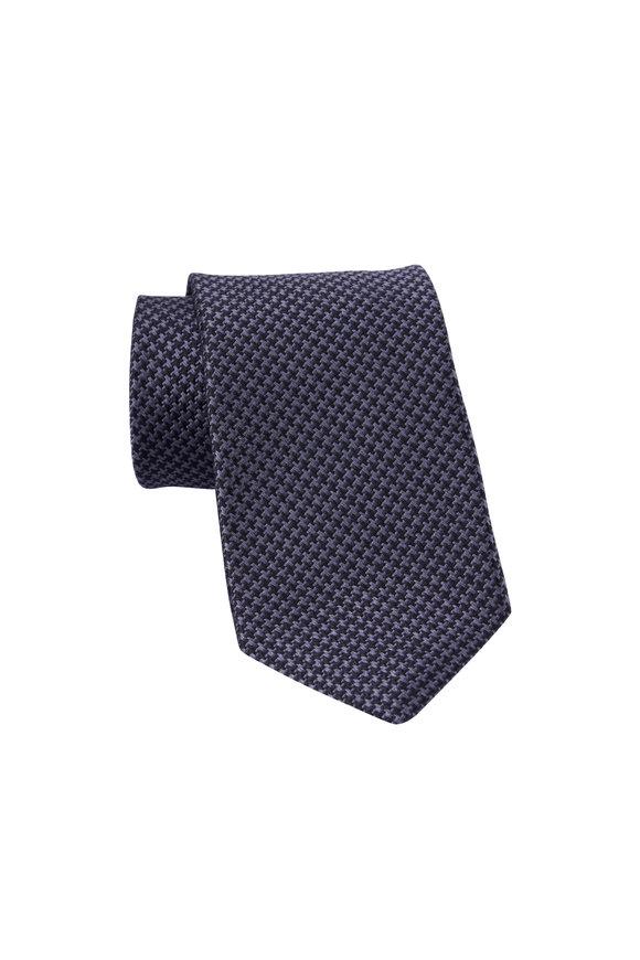 Dion Black & Gray Houndstooth Silk Necktie