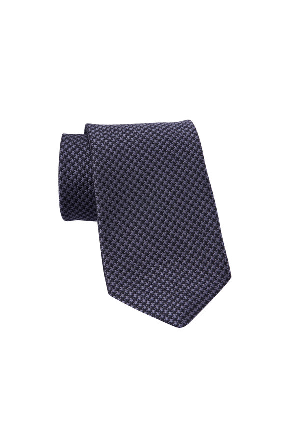 Dion Black & Gray Houndstooth Silk Necktie