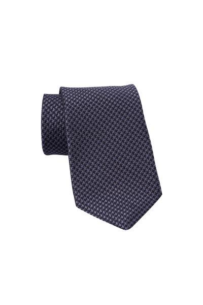 Dion - Black & Gray Houndstooth Silk Necktie