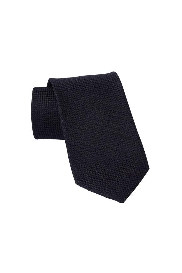 Dion Black Jacquard Woven Silk Necktie
