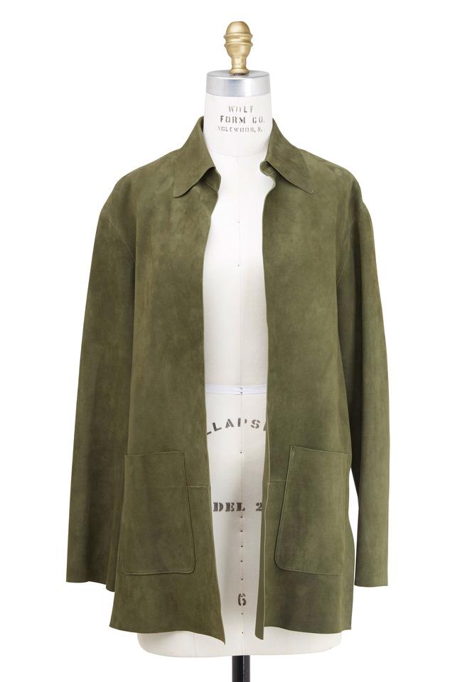 Olive Green Suede Jacket