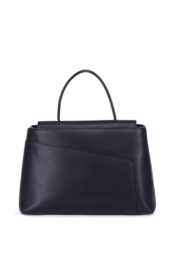 Valextra Twist 3 Black Leather Top Handle Bag